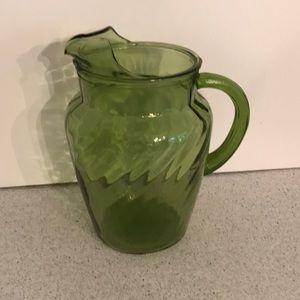 Vintage mid century green swirl glass pitcher